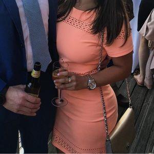 Elizabeth and James Ari Laser Cut Dress in Coral